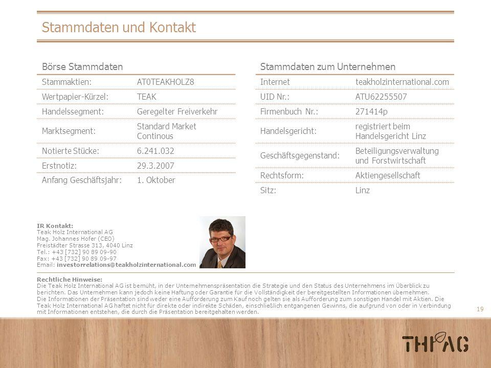 19 Stammdaten und Kontakt IR Kontakt: Teak Holz International AG Mag. Johannes Hofer (CEO) Freist ä dter Strasse 313, 4040 Linz Tel.: +43 [732] 90 89