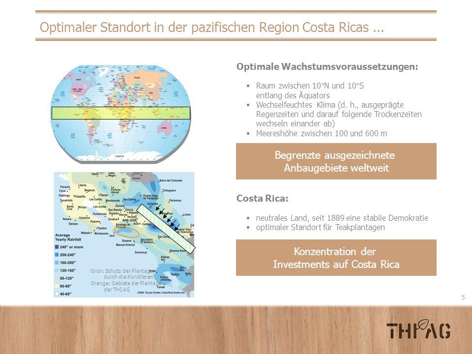 5 Optimaler Standort in der pazifischen Region Costa Ricas... Optimale Wachstumsvoraussetzungen: Raum zwischen 10°N und 10°S entlang des Äquators Wech