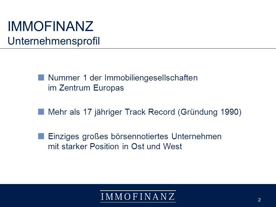 2 2 IMMOFINANZ Unternehmensprofil Nummer 1 der Immobiliengesellschaften im Zentrum Europas Mehr als 17 jähriger Track Record (Gründung 1990) Einziges großes börsennotiertes Unternehmen mit starker Position in Ost und West