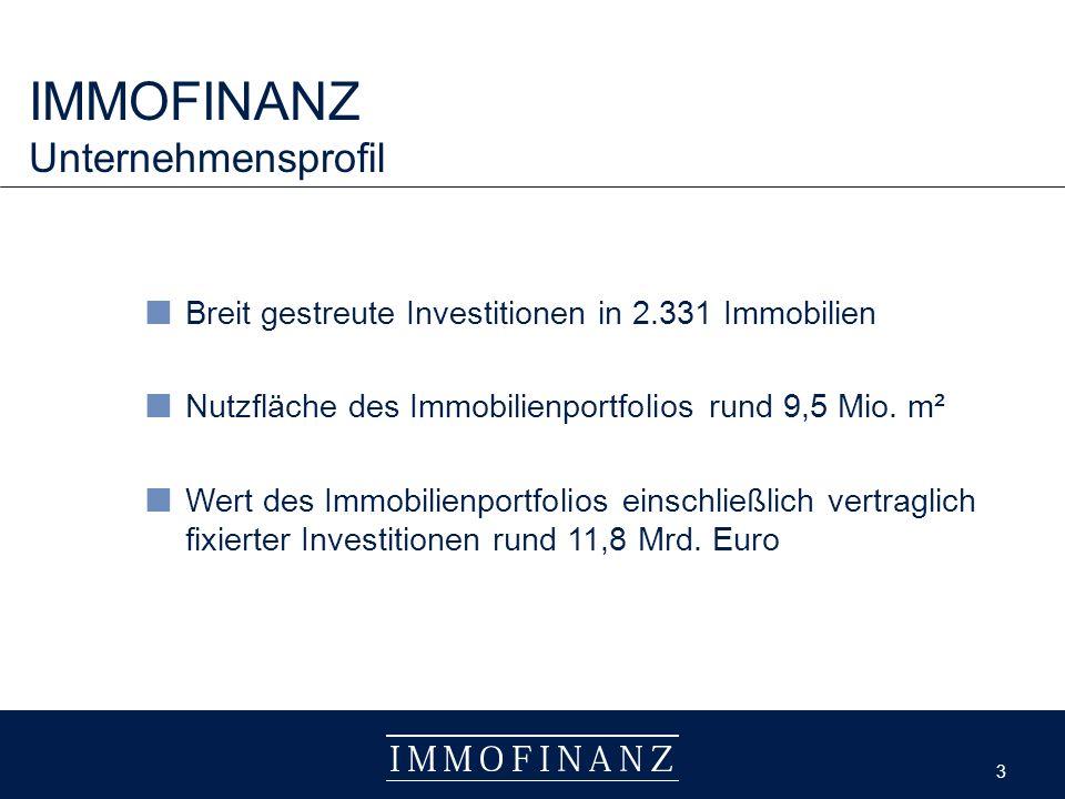 3 3 IMMOFINANZ Unternehmensprofil Breit gestreute Investitionen in 2.331 Immobilien Nutzfläche des Immobilienportfolios rund 9,5 Mio.