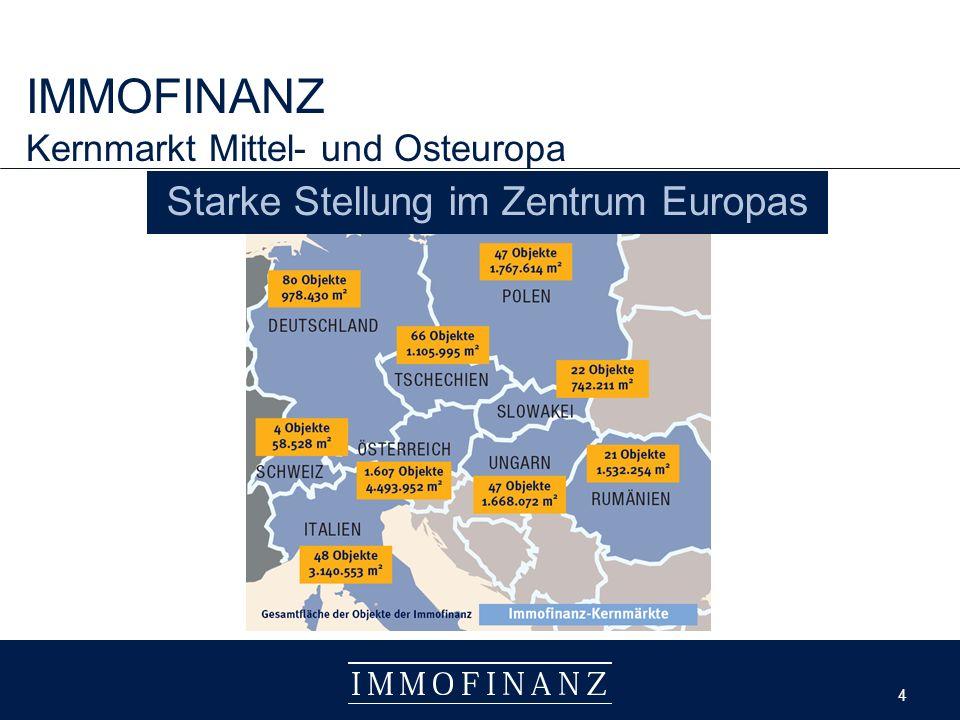 4 4 IMMOFINANZ Kernmarkt Mittel- und Osteuropa Starke Stellung im Zentrum Europas