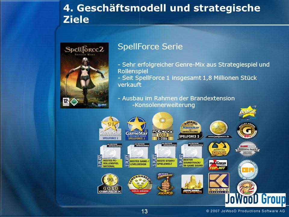 4. Geschäftsmodell und strategische Ziele 13 SpellForce Serie - Sehr erfolgreicher Genre-Mix aus Strategiespiel und Rollenspiel - Seit SpellForce 1 in