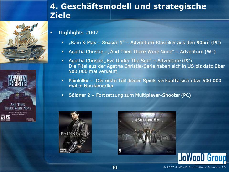4. Geschäftsmodell und strategische Ziele Highlights 2007 Sam & Max – Season 1 – Adventure-Klassiker aus den 90ern (PC) Agatha Christie - And Then The
