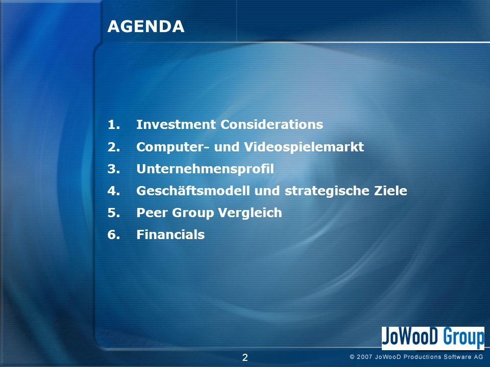 2 AGENDA 1.Investment Considerations 2.Computer- und Videospielemarkt 3.Unternehmensprofil 4.Geschäftsmodell und strategische Ziele 5.Peer Group Vergleich 6.Financials