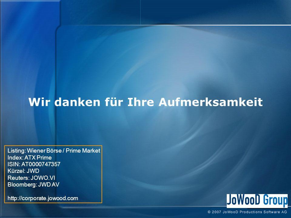 Wir danken für Ihre Aufmerksamkeit Listing: Wiener Börse / Prime Market Index: ATX Prime ISIN: AT0000747357 Kürzel: JWD Reuters: JOWO.VI Bloomberg: JWD AV http://corporate.jowood.com