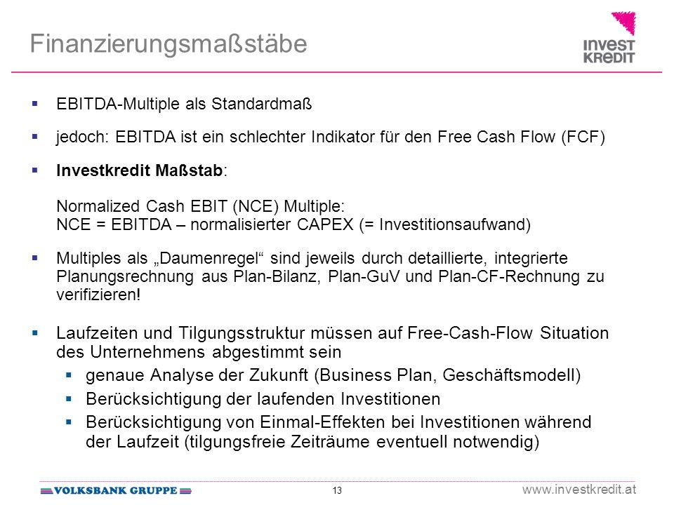 13 www.investkredit.at Finanzierungsmaßstäbe EBITDA-Multiple als Standardmaß jedoch: EBITDA ist ein schlechter Indikator für den Free Cash Flow (FCF) Investkredit Maßstab: Normalized Cash EBIT (NCE) Multiple: NCE = EBITDA – normalisierter CAPEX (= Investitionsaufwand) Multiples als Daumenregel sind jeweils durch detaillierte, integrierte Planungsrechnung aus Plan-Bilanz, Plan-GuV und Plan-CF-Rechnung zu verifizieren.