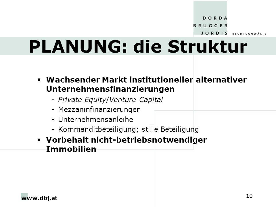 www.dbj.at 10 PLANUNG: die Struktur Wachsender Markt institutioneller alternativer Unternehmensfinanzierungen -Private Equity/Venture Capital -Mezzaninfinanzierungen -Unternehmensanleihe -Kommanditbeteiligung; stille Beteiligung Vorbehalt nicht-betriebsnotwendiger Immobilien