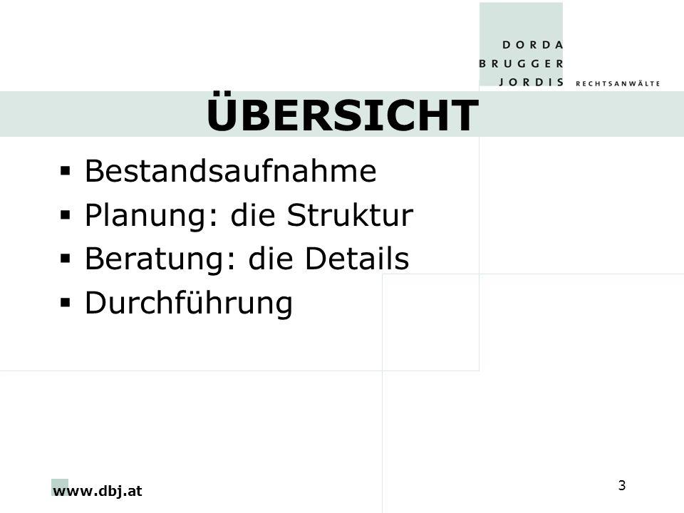 www.dbj.at 4 BESTANDSAUFNAHME Betriebswirtschaftlich, rechtlich, steuerlich Verknüpfung mit der Erbregelung Bestandsaufnahme Familie –Eigene Lebensplanung –Welche Erben sind geeignet.