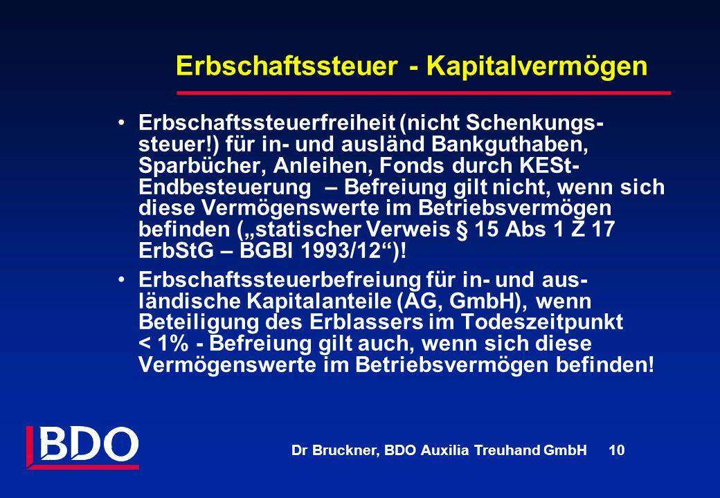 Dr Bruckner, BDO Auxilia Treuhand GmbH 10 Erbschaftssteuer - Kapitalvermögen Erbschaftssteuerfreiheit (nicht Schenkungs- steuer!) für in- und ausländ