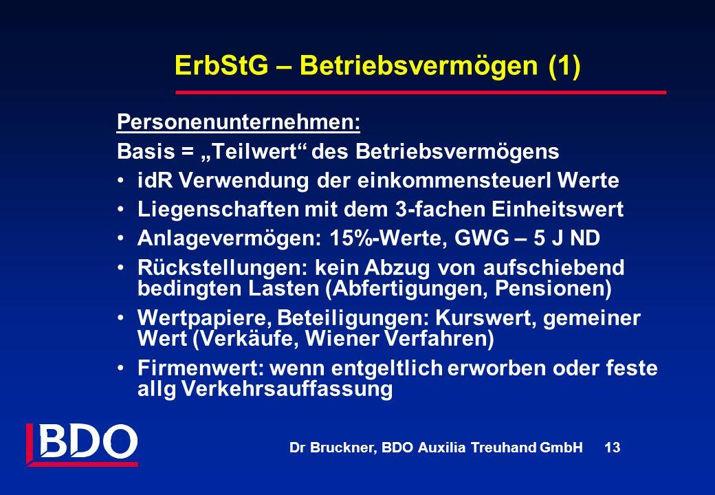 Dr Bruckner, BDO Auxilia Treuhand GmbH 13 ErbStG – Betriebsvermögen (1) Personenunternehmen: Basis = Teilwert des Betriebsvermögens idR Verwendung der