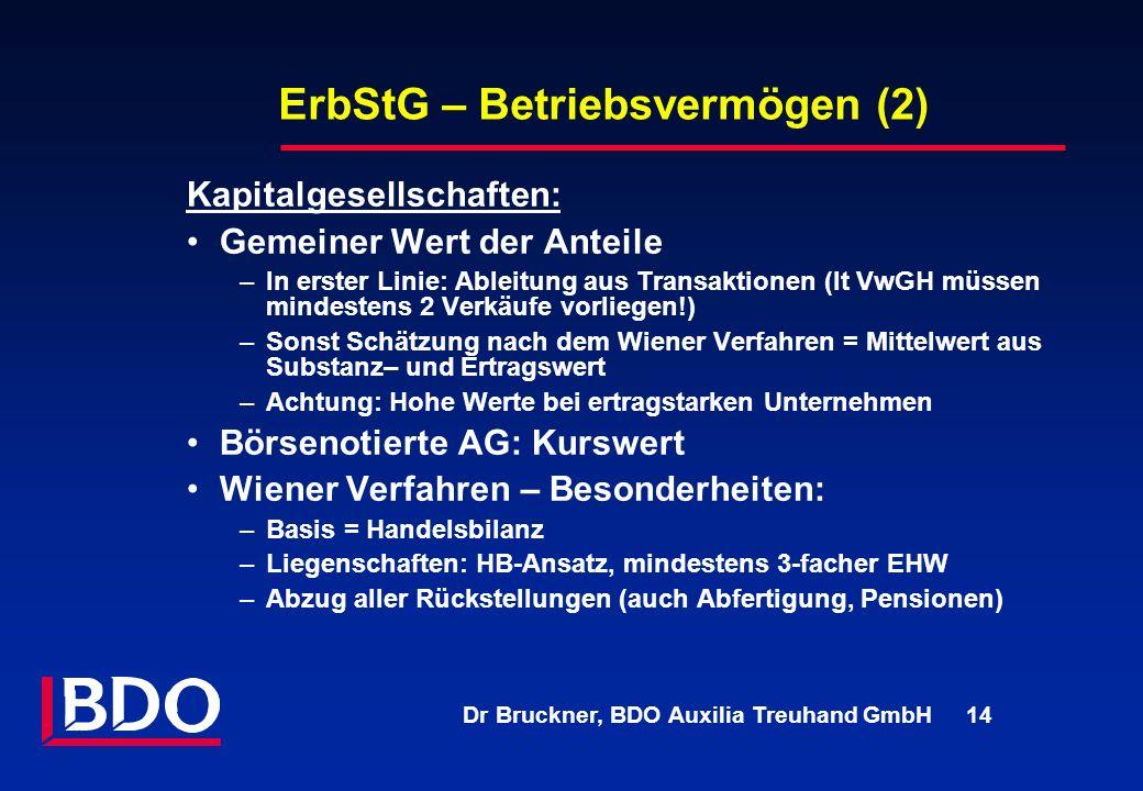 Dr Bruckner, BDO Auxilia Treuhand GmbH 14 ErbStG – Betriebsvermögen (2) Kapitalgesellschaften: Gemeiner Wert der Anteile –In erster Linie: Ableitung a