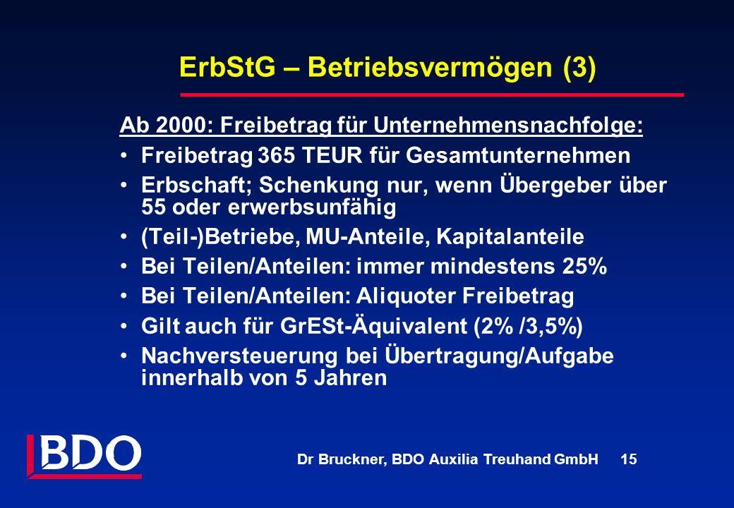 Dr Bruckner, BDO Auxilia Treuhand GmbH 15 ErbStG – Betriebsvermögen (3) Ab 2000: Freibetrag für Unternehmensnachfolge: Freibetrag 365 TEUR für Gesamtu