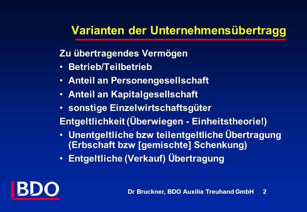 Dr Bruckner, BDO Auxilia Treuhand GmbH 2 Varianten der Unternehmensübertragg Zu übertragendes Vermögen Betrieb/Teilbetrieb Anteil an Personengesellsch