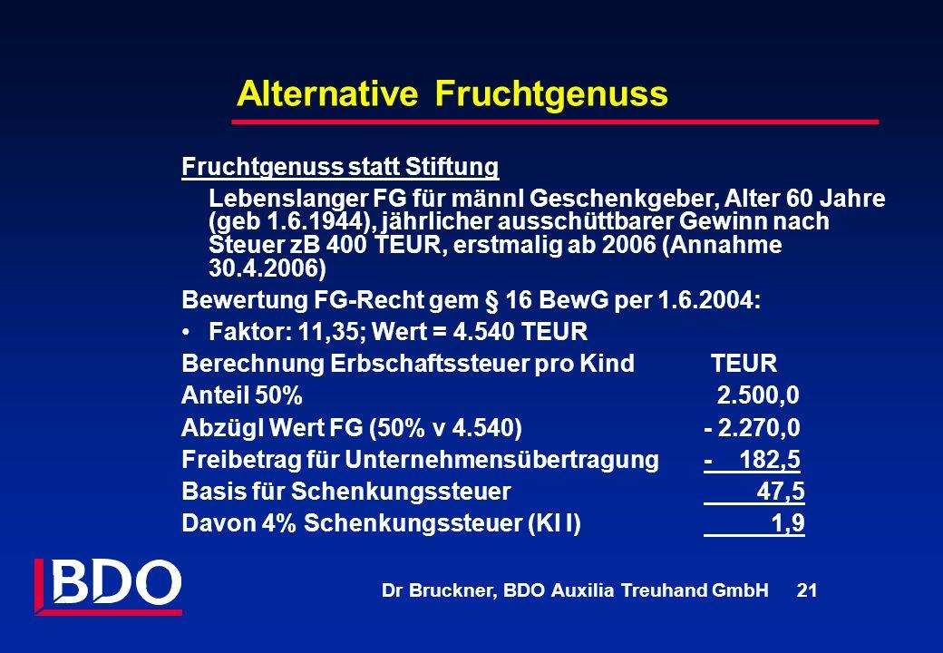 Dr Bruckner, BDO Auxilia Treuhand GmbH 21 Alternative Fruchtgenuss Fruchtgenuss statt Stiftung Lebenslanger FG für männl Geschenkgeber, Alter 60 Jahre