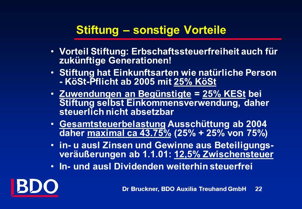 Dr Bruckner, BDO Auxilia Treuhand GmbH 22 Stiftung – sonstige Vorteile Vorteil Stiftung: Erbschaftssteuerfreiheit auch für zukünftige Generationen! St