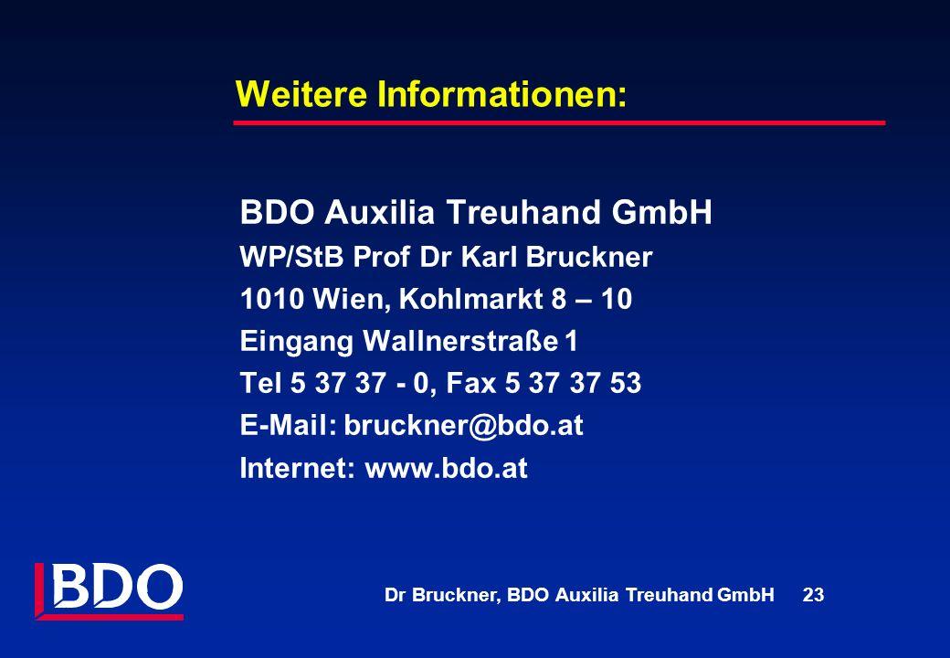 Dr Bruckner, BDO Auxilia Treuhand GmbH 23 Weitere Informationen: BDO Auxilia Treuhand GmbH WP/StB Prof Dr Karl Bruckner 1010 Wien, Kohlmarkt 8 – 10 Ei