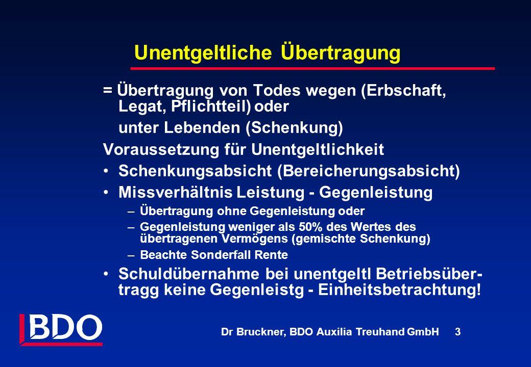 Dr Bruckner, BDO Auxilia Treuhand GmbH 3 Unentgeltliche Übertragung = Übertragung von Todes wegen (Erbschaft, Legat, Pflichtteil) oder unter Lebenden