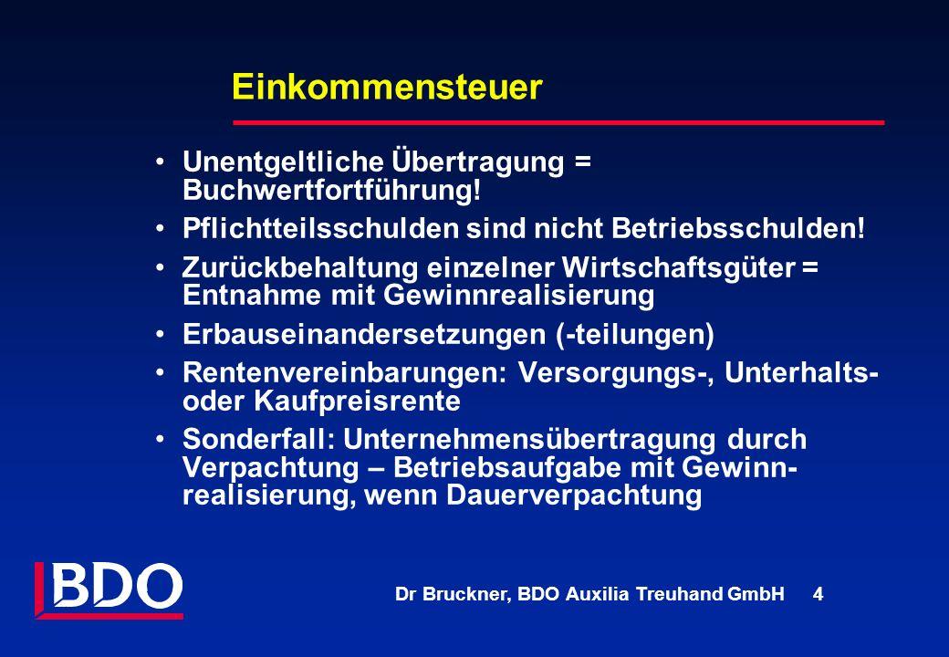 Dr Bruckner, BDO Auxilia Treuhand GmbH 4 Einkommensteuer Unentgeltliche Übertragung = Buchwertfortführung! Pflichtteilsschulden sind nicht Betriebssch