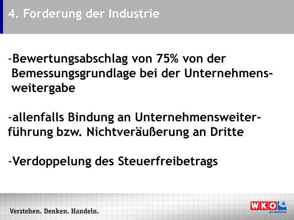 4. Forderung der Industrie -Bewertungsabschlag von 75% von der Bemessungsgrundlage bei der Unternehmens- weitergabe -allenfalls Bindung an Unternehmen