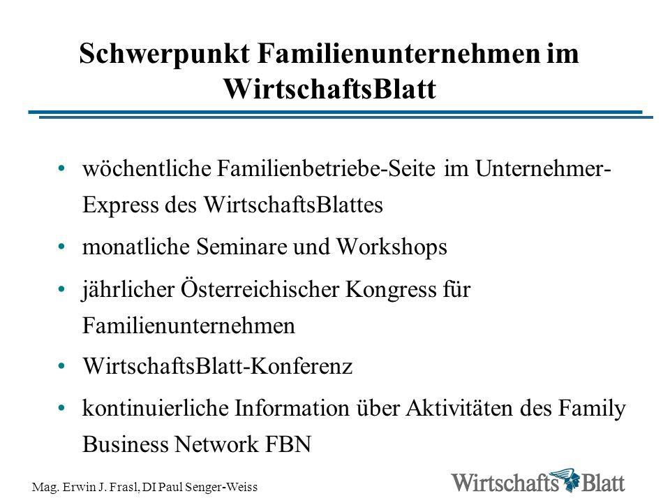 Mag. Erwin J. Frasl, DI Paul Senger-Weiss Schwerpunkt Familienunternehmen im WirtschaftsBlatt wöchentliche Familienbetriebe-Seite im Unternehmer- Expr