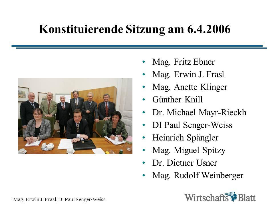 Mag. Erwin J. Frasl, DI Paul Senger-Weiss Konstituierende Sitzung am 6.4.2006 Mag. Fritz Ebner Mag. Erwin J. Frasl Mag. Anette Klinger Günther Knill D