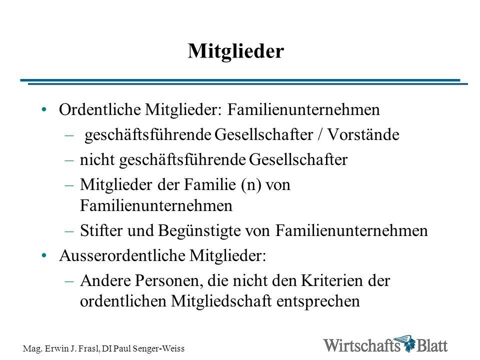 Mag. Erwin J. Frasl, DI Paul Senger-Weiss Mitglieder Ordentliche Mitglieder: Familienunternehmen – geschäftsführende Gesellschafter / Vorstände –nicht