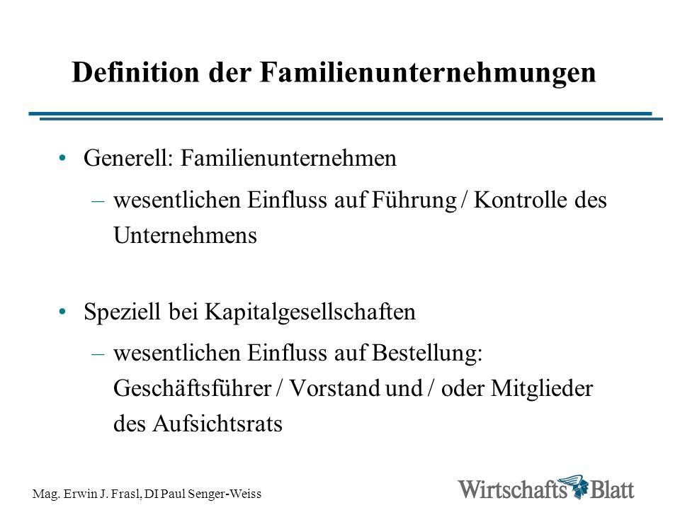Mag. Erwin J. Frasl, DI Paul Senger-Weiss Definition der Familienunternehmungen Generell: Familienunternehmen –wesentlichen Einfluss auf Führung / Kon