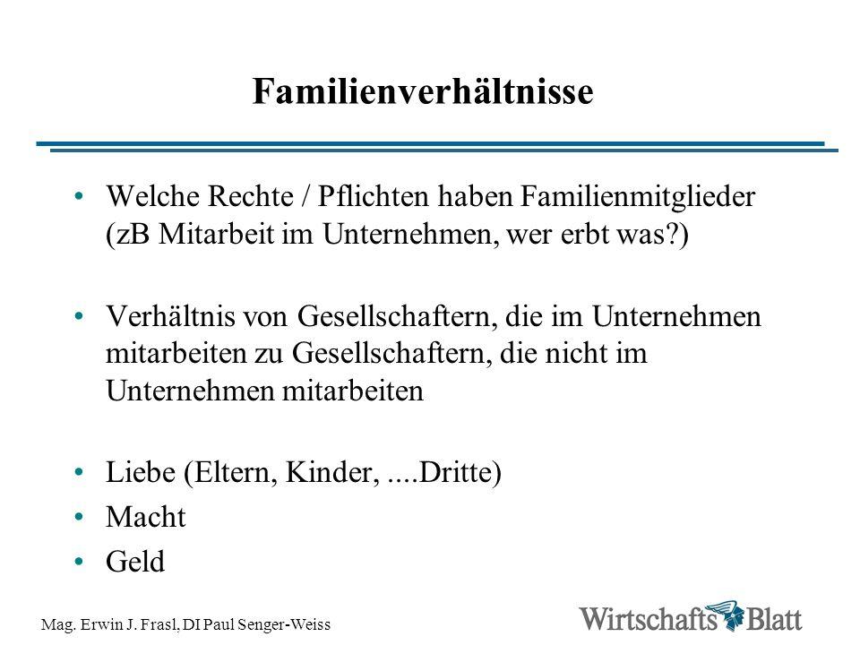 Mag. Erwin J. Frasl, DI Paul Senger-Weiss Familienverhältnisse Welche Rechte / Pflichten haben Familienmitglieder (zB Mitarbeit im Unternehmen, wer er