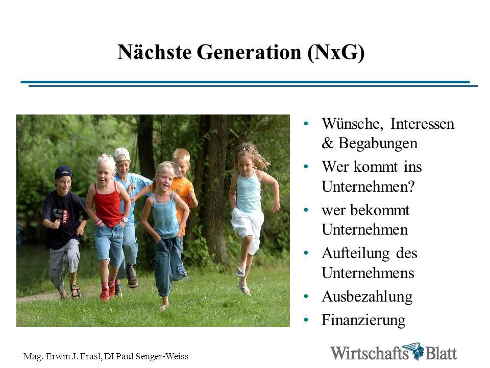 Mag. Erwin J. Frasl, DI Paul Senger-Weiss Nächste Generation (NxG) Wünsche, Interessen & Begabungen Wer kommt ins Unternehmen? wer bekommt Unternehmen