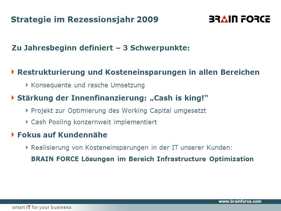 www.brainforce.com smart IT for your business Strategie im Rezessionsjahr 2009 Zu Jahresbeginn definiert – 3 Schwerpunkte: Restrukturierung und Kosteneinsparungen in allen Bereichen Konsequente und rasche Umsetzung Stärkung der Innenfinanzierung: Cash is king.