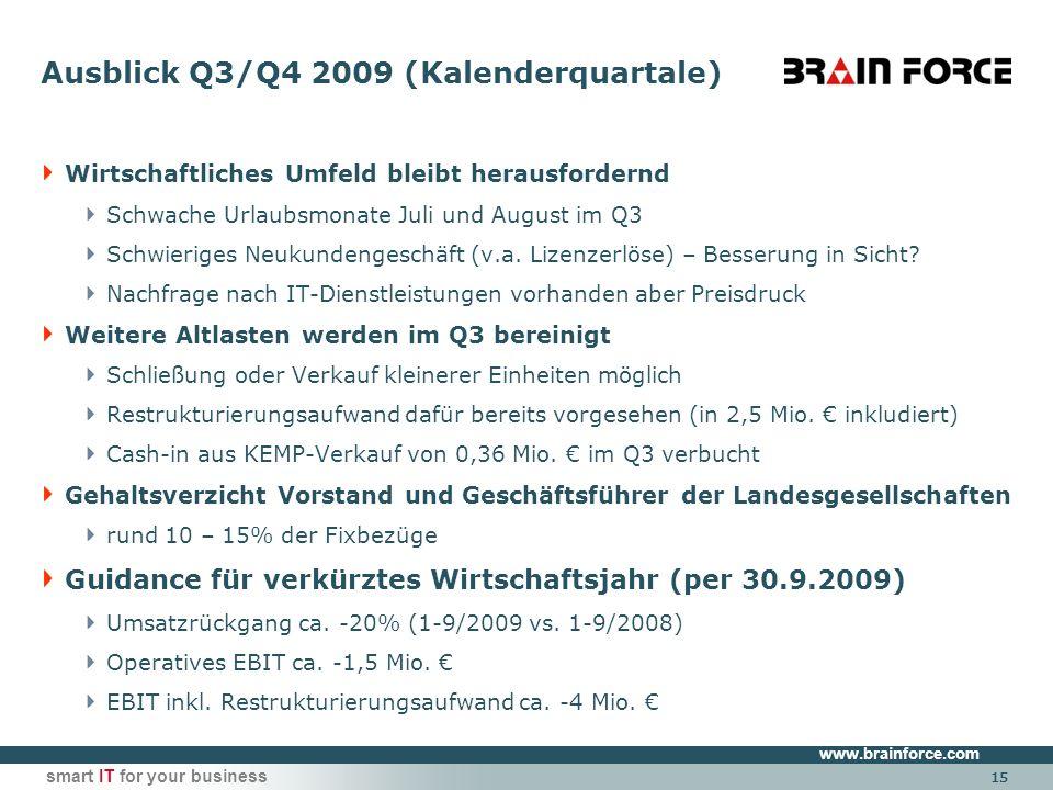 www.brainforce.com smart IT for your business 15 Ausblick Q3/Q4 2009 (Kalenderquartale) Wirtschaftliches Umfeld bleibt herausfordernd Schwache Urlaubsmonate Juli und August im Q3 Schwieriges Neukundengeschäft (v.a.