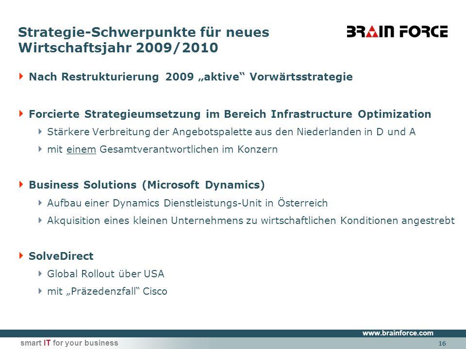www.brainforce.com smart IT for your business 16 Strategie-Schwerpunkte für neues Wirtschaftsjahr 2009/2010 Nach Restrukturierung 2009 aktive Vorwärts