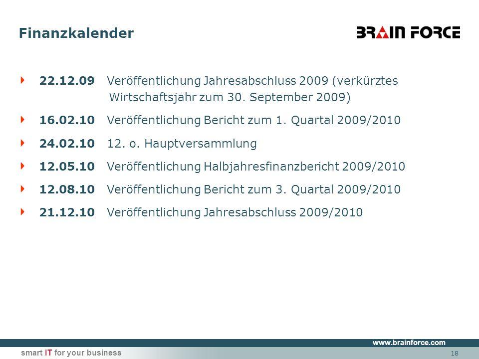 www.brainforce.com smart IT for your business 18 22.12.09 Veröffentlichung Jahresabschluss 2009 (verkürztes Wirtschaftsjahr zum 30. September 2009) 16