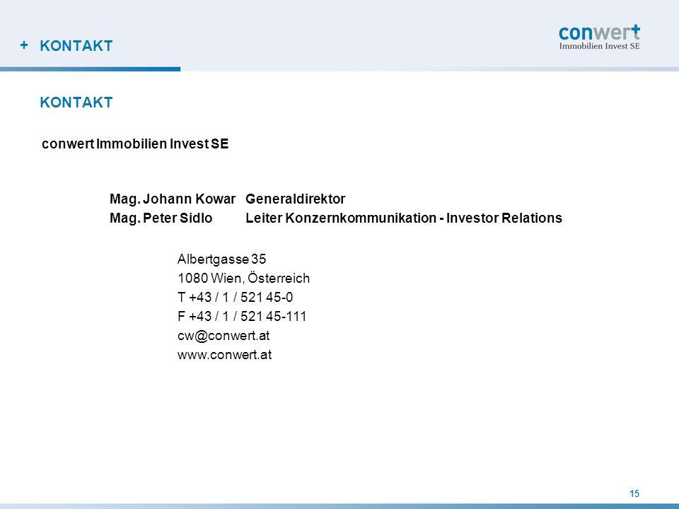 + 15 KONTAKT conwert Immobilien Invest SE Mag. Johann KowarGeneraldirektor Mag. Peter SidloLeiter Konzernkommunikation - Investor Relations Albertgass