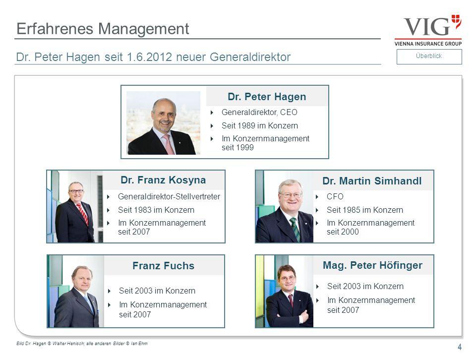 4 Erfahrenes Management 4 Dr. Peter Hagen seit 1.6.2012 neuer Generaldirektor Dr. Peter Hagen Generaldirektor, CEO Seit 1989 im Konzern Im Konzernmana