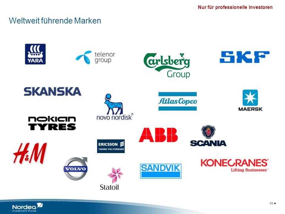 Nur für professionelle Investoren For professionals only 10 Weltweit führende Marken