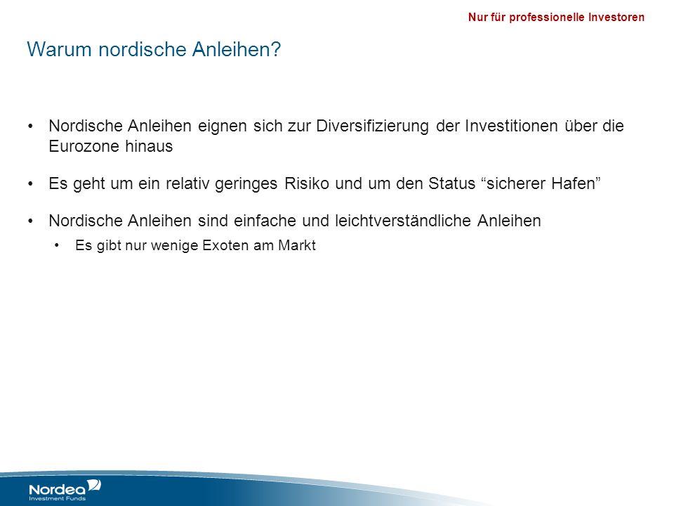 Nur für professionelle Investoren Warum nordische Anleihen? Nordische Anleihen eignen sich zur Diversifizierung der Investitionen über die Eurozone hi