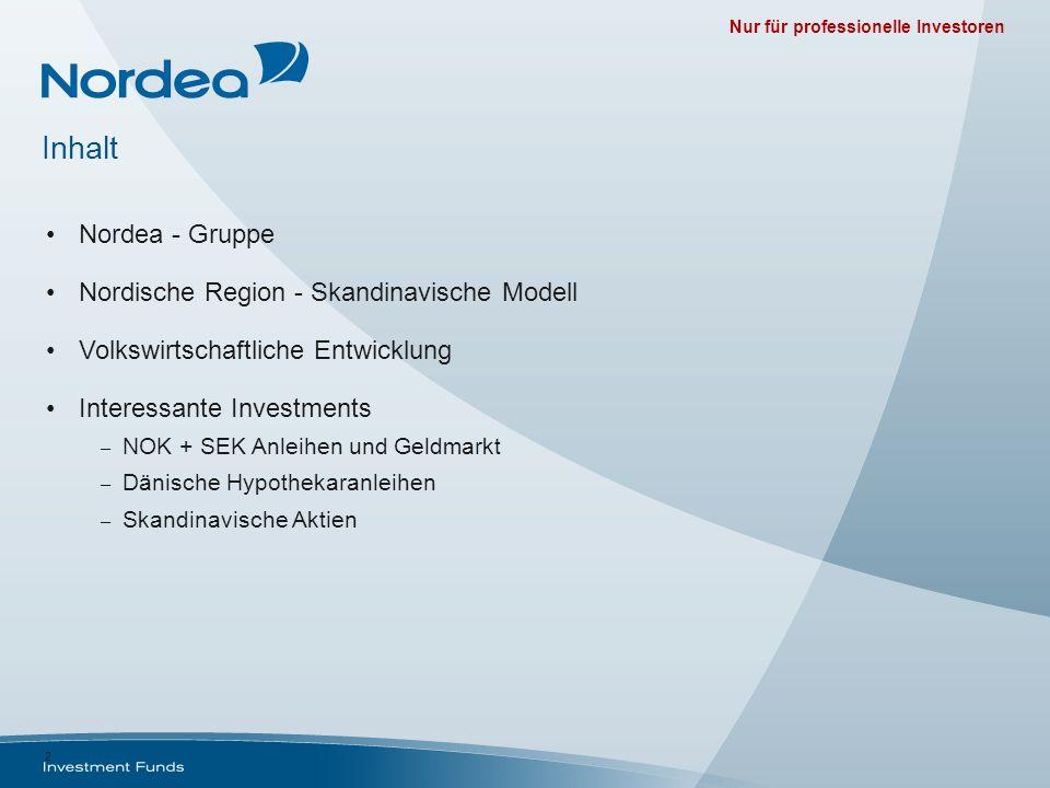 Nur für professionelle Investoren 2 Inhalt Nordea - Gruppe Nordische Region - Skandinavische Modell Volkswirtschaftliche Entwicklung Interessante Inve
