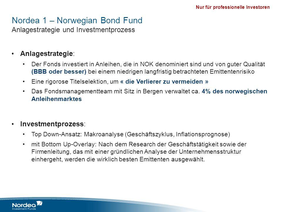 Nur für professionelle Investoren Nordea 1 – Norwegian Bond Fund Anlagestrategie und Investmentprozess Anlagestrategie: Der Fonds investiert in Anleih