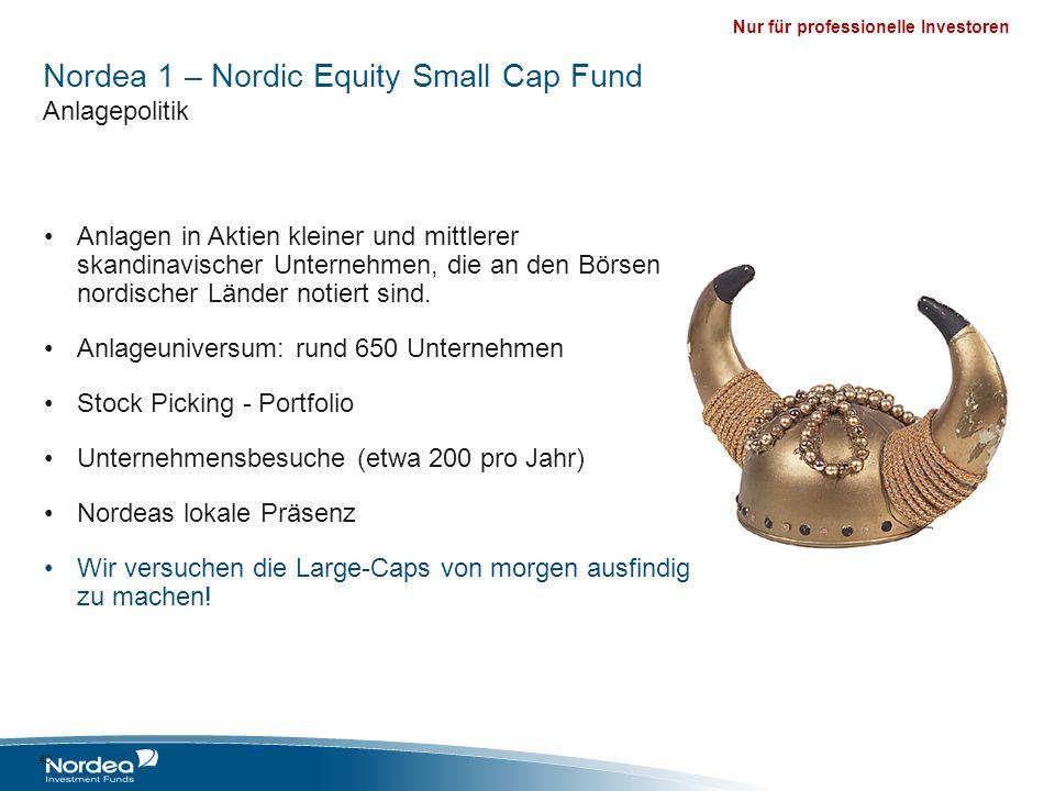 Nur für professionelle Investoren Nordea 1 – Nordic Equity Small Cap Fund Anlagepolitik Anlagen in Aktien kleiner und mittlerer skandinavischer Untern