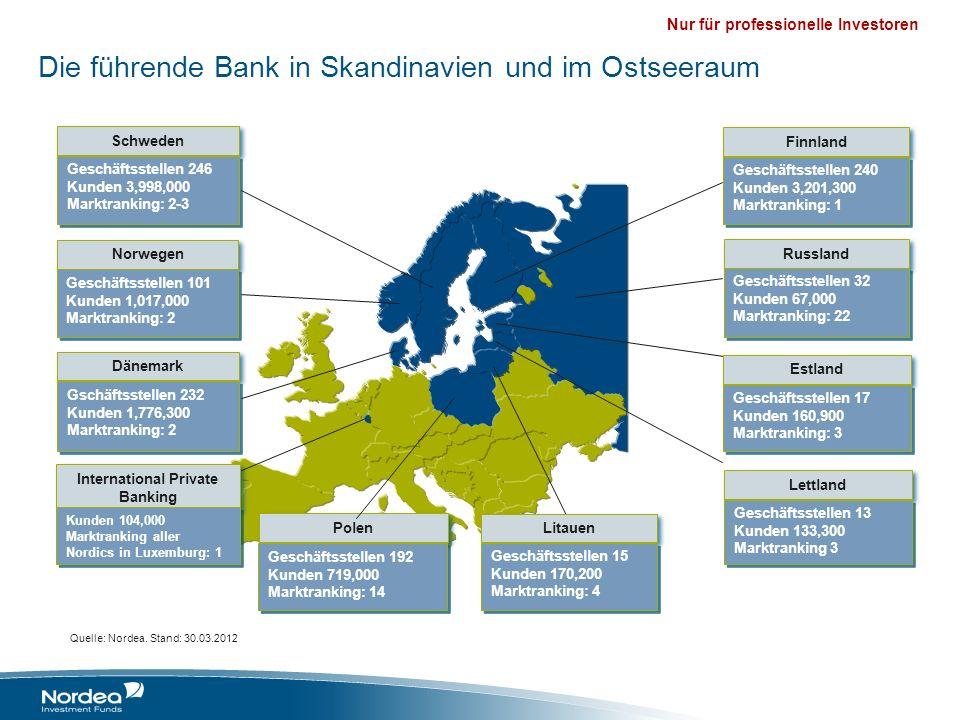 Nur für professionelle Investoren Nordea Nordea ist der führende Finanzdienstleister in Skandinavien und dem Ostseeraum Ca.