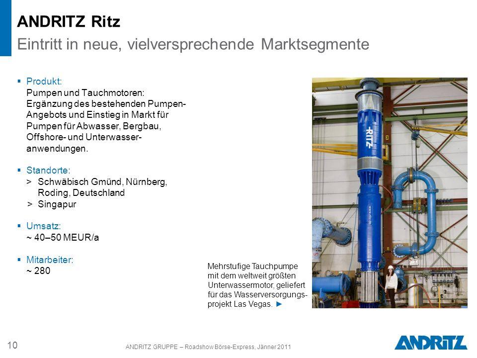 10 ANDRITZ GRUPPE – Roadshow Börse-Express, Jänner 2011 ANDRITZ Ritz Produkt: Pumpen und Tauchmotoren: Ergänzung des bestehenden Pumpen- Angebots und