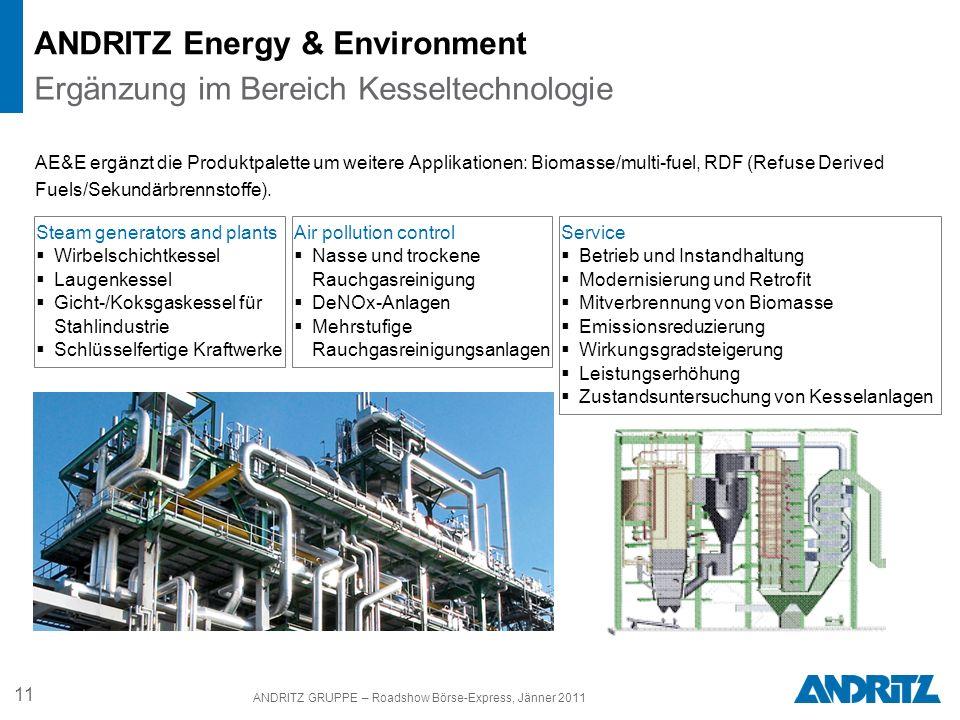 11 ANDRITZ GRUPPE – Roadshow Börse-Express, Jänner 2011 ANDRITZ Energy & Environment Steam generators and plants Wirbelschichtkessel Laugenkessel Gich