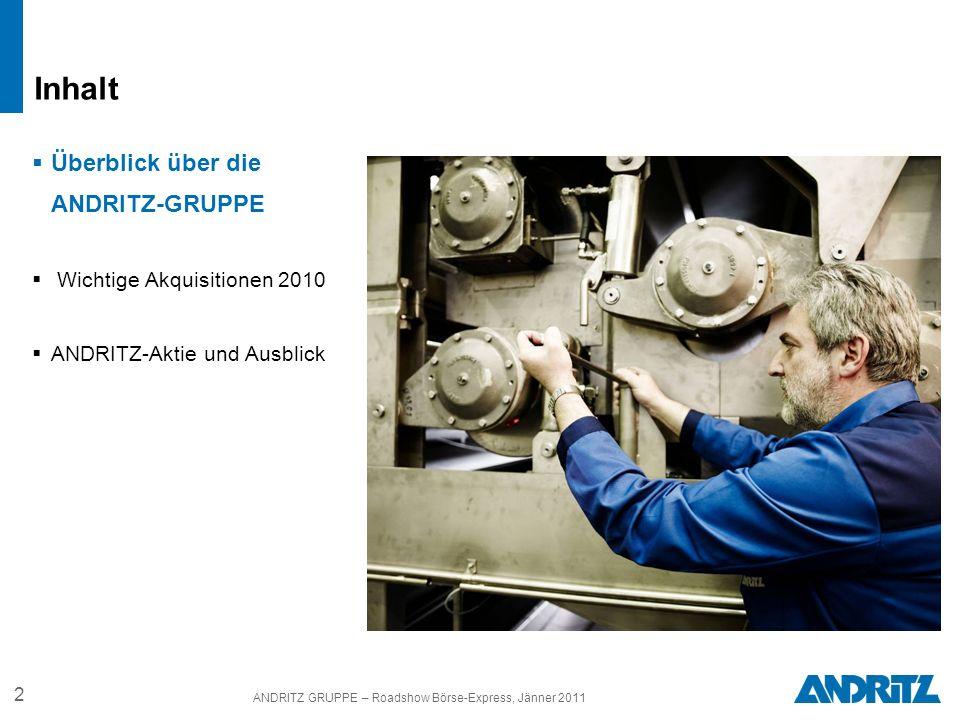 2 ANDRITZ GRUPPE – Roadshow Börse-Express, Jänner 2011 Überblick über die ANDRITZ-GRUPPE Wichtige Akquisitionen 2010 ANDRITZ-Aktie und Ausblick Inhalt