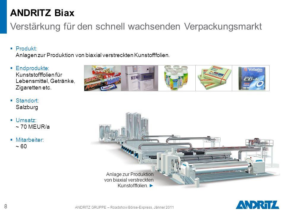 8 ANDRITZ GRUPPE – Roadshow Börse-Express, Jänner 2011 Produkt: Anlagen zur Produktion von biaxial verstreckten Kunstofffolien. Endprodukte: Kunststof