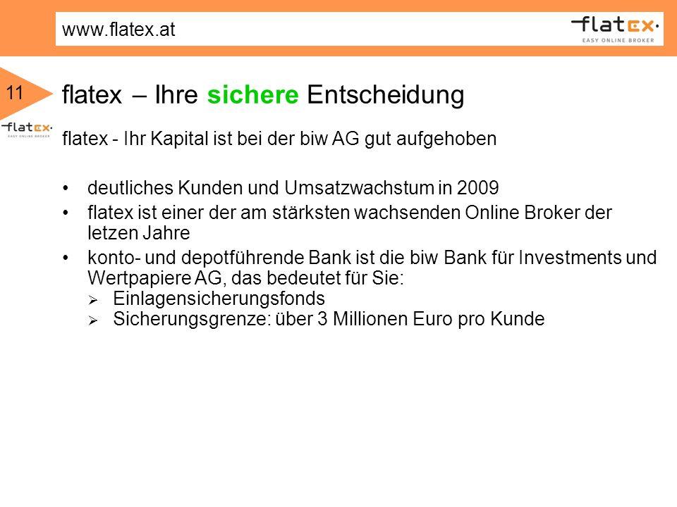 www.flatex.at 11 flatex - Ihr Kapital ist bei der biw AG gut aufgehoben deutliches Kunden und Umsatzwachstum in 2009 flatex ist einer der am stärksten