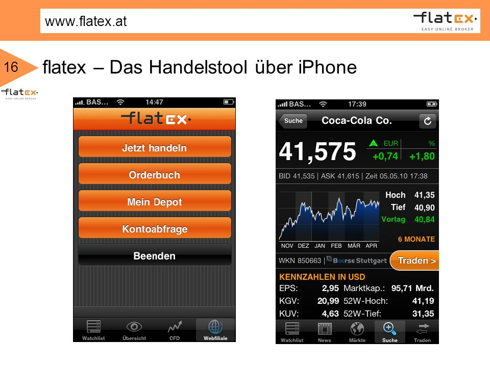 www.flatex.at 16 flatex – Das Handelstool über iPhone