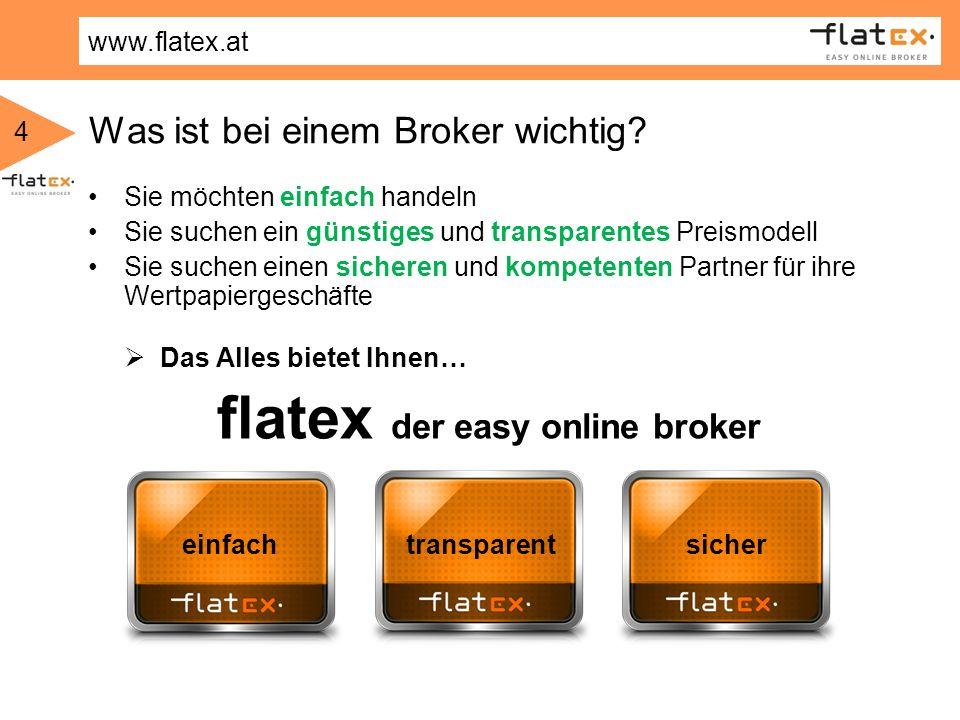 www.flatex.at 4 Was ist bei einem Broker wichtig? Sie möchten einfach handeln Sie suchen ein günstiges und transparentes Preismodell Sie suchen einen