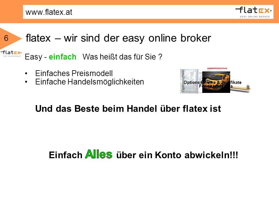 www.flatex.at 6 Anleihen flatex – wir sind der easy online broker AktienFonds und ETFs Optionsscheine & Zertifikate CFDs