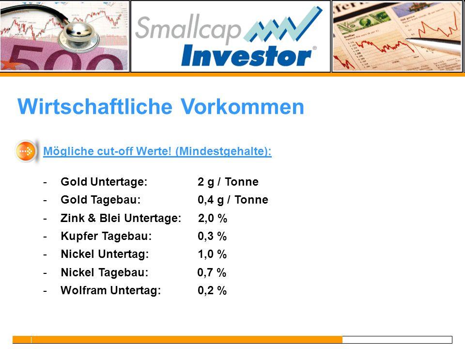 Wirtschaftliche Vorkommen Mögliche cut-off Werte! (Mindestgehalte): -Gold Untertage: 2 g / Tonne -Gold Tagebau: 0,4 g / Tonne -Zink & Blei Untertage: